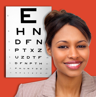 Woman in front of eye chart